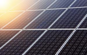 Solar panels and sun